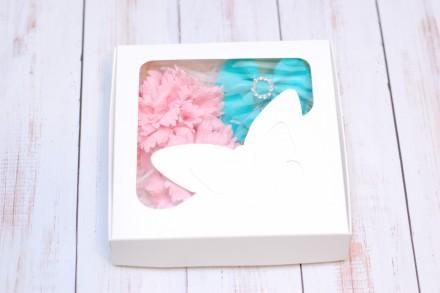 Набор выполнен в мятно-розовом цвете и состоит из двух пар резиночек. 1 - ткане. Харьков, Харьковская область. фото 3
