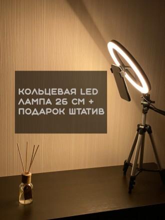 Кольцевая LED лампа 26 см +ПОДАРОК штатив на выбор (макс высота 210 см, макс выс. Киев, Киевская область. фото 2
