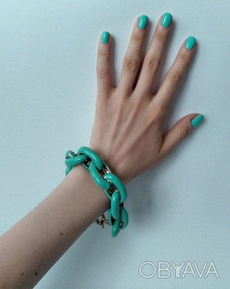 Бирюзовый браслет с эмалью. Браслет-цепь женский. Красивые браслеты