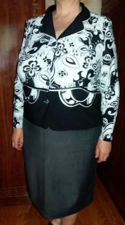 Продам женский жакет (блузу) черно-белую с длинным рукавом - материал: трикотаж-. Чернигов, Черниговская область. фото 5