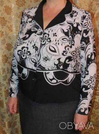 Продам женский жакет (блузу) черно-белую с длинным рукавом - материал: трикотаж-. Чернигов, Черниговская область. фото 1