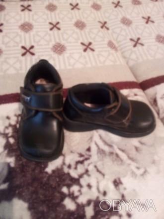 Туфли для мальчика кожаные прошитые на липучке размер 25
