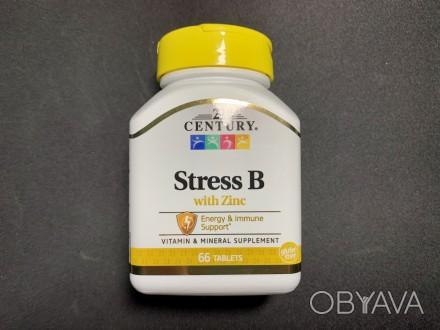 Витамины группы В, Стресс В + цинк, Stress B, 21st Century, 66 таблето