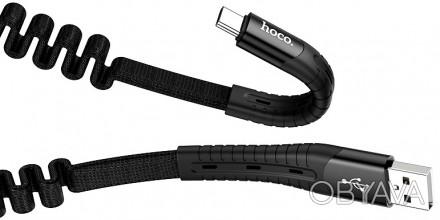 Кабель USB Hoco U78 Cotton Treasure Elastic USB Type-C Cable Black