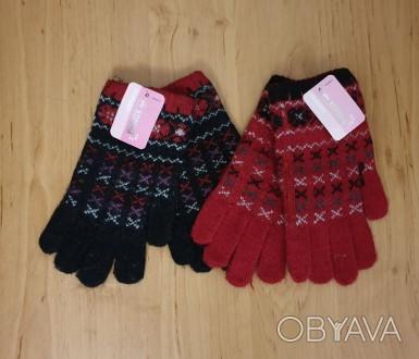 Шерстяные перчатки на девочку 6-8 лет Состав: 40% акрил, 35% шерсть, 25% спандек. Одесса, Одесская область. фото 1