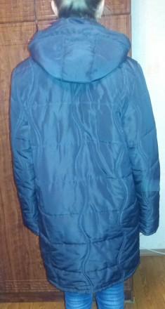 Женское пальто теплое демисезонное на подкладке б.у. черное размер 52-54 (без де. Чернигов, Черниговская область. фото 4