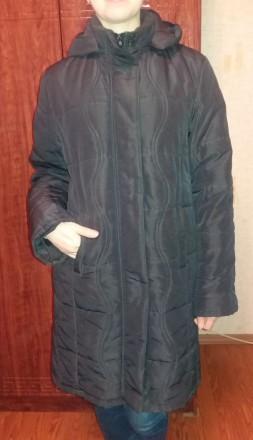 Женское пальто теплое демисезонное на подкладке б.у. черное размер 52-54 (без де. Чернигов, Черниговская область. фото 2