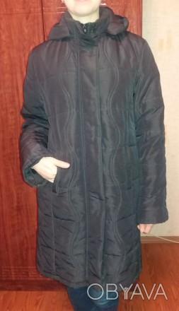 Женское пальто теплое демисезонное на подкладке б.у. черное размер 52-54 (без де. Чернигов, Черниговская область. фото 1