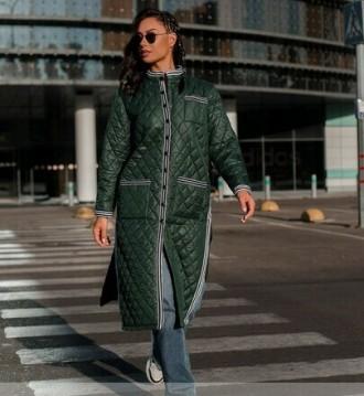 Тёплая длинная куртка батал с подкладкой. Спереди — накладные карманы на талии и. Одесса, Одесская область. фото 2