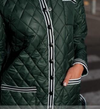 Тёплая длинная куртка батал с подкладкой. Спереди — накладные карманы на талии и. Одесса, Одесская область. фото 4