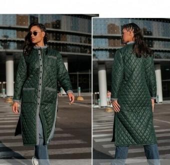 Тёплая длинная куртка батал с подкладкой. Спереди — накладные карманы на талии и. Одесса, Одесская область. фото 5