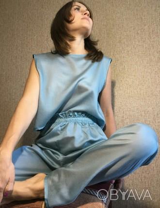 Пижама хлопковая женская (футболка + штаны на эластичной резинке)  Состав: 10. Николаев, Николаевская область. фото 1