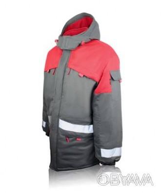 Курточка рабочая утепленная серая с красной кокеткой