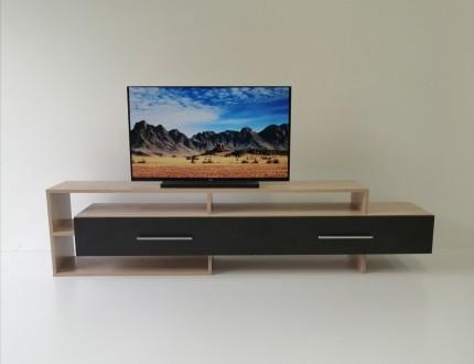 Двухцветная тумба для телевизора изготовлена из  ламинированного ДСП.  Длинный. Чернигов, Черниговская область. фото 2