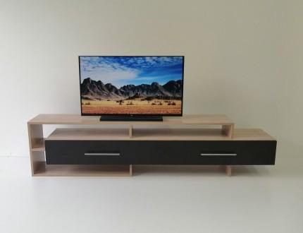 Двухцветная тумба для телевизора изготовлена из  ламинированного ДСП.  Длинный. Чернигов, Черниговская область. фото 3