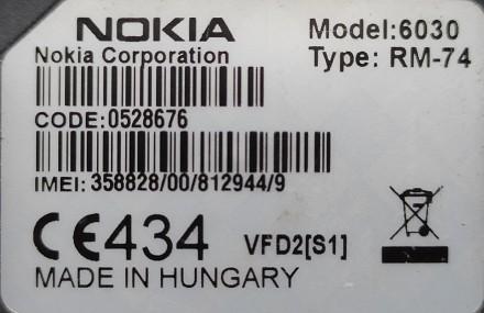 Nokia 6030 б/ушный кнопочный телефон черного цвета в хорошем состоянии. Работает. Херсон, Херсонская область. фото 5