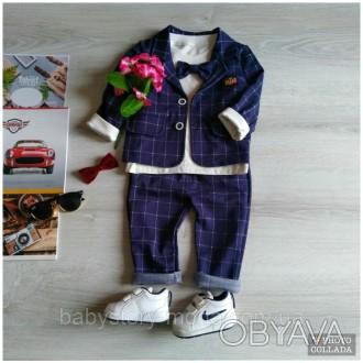Модный детский костюм на праздник Нарядный костюм тройка на мальчика Синий костю