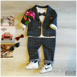 Стильный серый костюм в клетку на мальчика Нарядный детский костюм на годик Детс