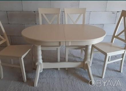 Кухонний набір: колір слонова кость (айворі) або білий Стіл 120х80 +40вставка ц. Одесса, Одесская область. фото 1