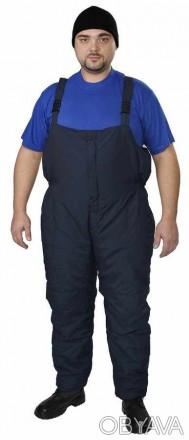Утепленный рабочий полукомбинезон синий