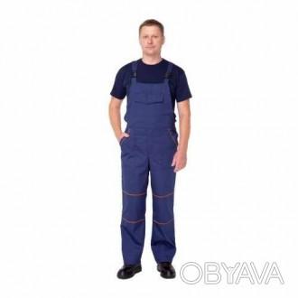 Мужской полукомбинезон рабочий синий