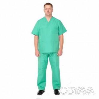 Медицинский мужской костюм зеленый