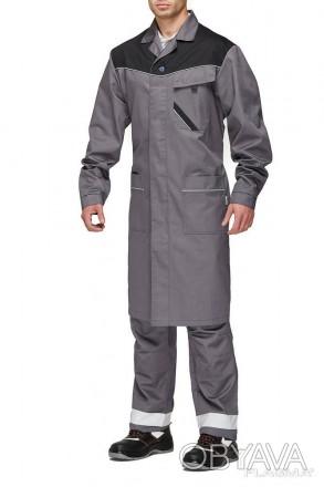 Мужской рабочий халат серого цвета