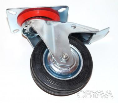 Колесо для тележки, тачки, с металлическим основанием, 100 мм, поворотное