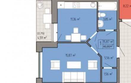 Однокомнатная квартира общей площадью 41 м2 с красивым видом с 14 этажа. В квар. Таирова, Одесса, Одесская область. фото 3