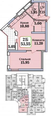 Двухкомнатная квартира в новом доме в Одессе на Черемушках, ул. Героев Крут (Тер. Черемушки, Одесса, Одесская область. фото 3