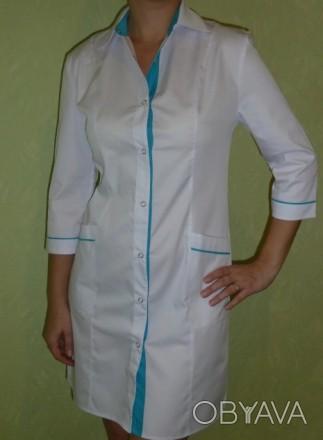 Медицинский халат . Ткань: мед-твил (диагональ).