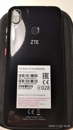 ZTE BLADE V10 Vita 2/32GB Black Состояние близкое к новому, смартфон в бережном. Лохвица, Полтавская область. фото 5