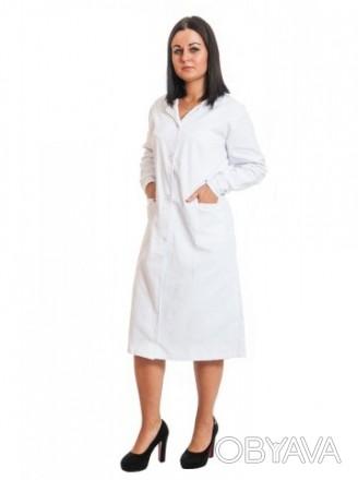 Халат медицинский модельный женский. Цвет белый