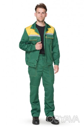 Костюм механика, спецодежда рабочая зеленый с желтой кокеткой