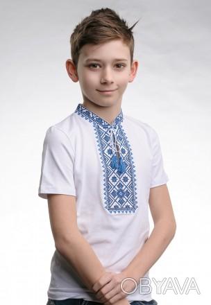 Белая футболка для мальчика с вышивкой на груди «Звездное сияние