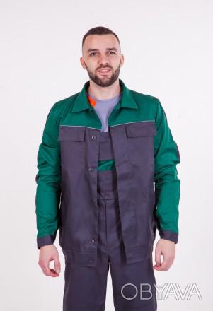 Костюм куртка и полукомбинезон ,зеленая кокетка