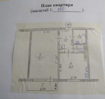 1-комн. квартира в отличном жилом состоянии.  Большая площадь квартиры 34 кв.м. Шерстянка, Чернигов, Черниговская область. фото 10