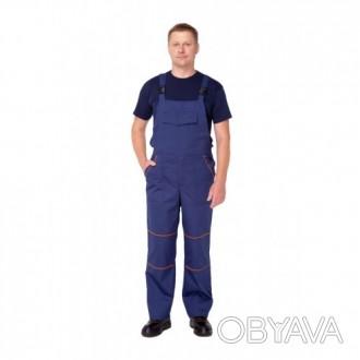 Синий рабочий костюм с полукобминезоном
