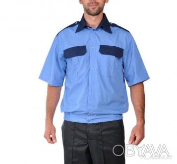 Комбинированная рубашка с короткий рукавом