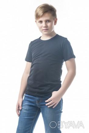 Детские футболки однотонные унисекс в розницу черный, 34