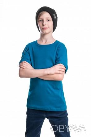 Детские футболки однотонные унисекс в розницу морская волна, 34