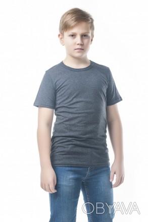 Детские футболки однотонные унисекс в розницу антрацит, 34