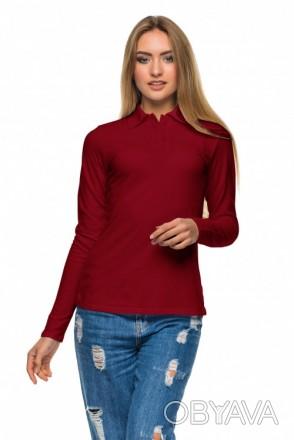 Женская футболка поло с длинным рукавом Много Цветов бордо