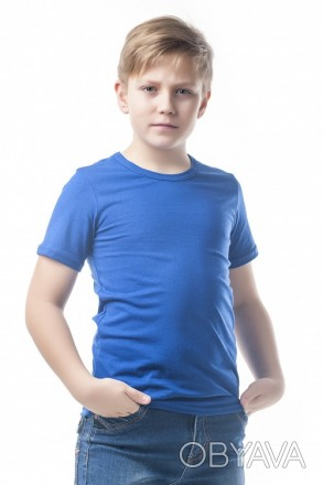 Детские футболки однотонные унисекс в розницу электрик, 32