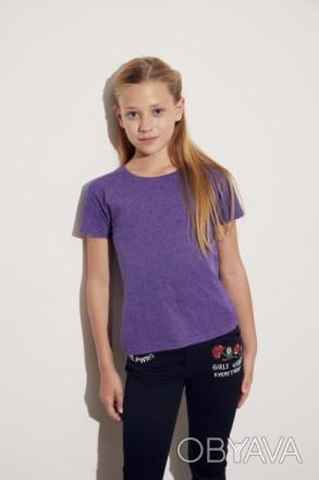 Детская футболка на девочку Fruit of the loom от 3 до 15 лет фиолетовый-меланж