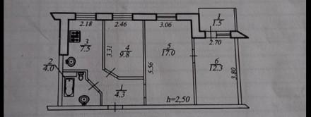 Квартира в жилом советском состоянии, под ремонт, комнаты 2+1, сан узел в кафеле. Победа-1, Днепр, Днепропетровская область. фото 2