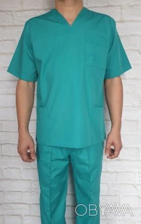 Медицинский костюм мужской мятный. Ткань батист.