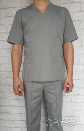 Медицинский костюм мужской серый. Ткань батист.