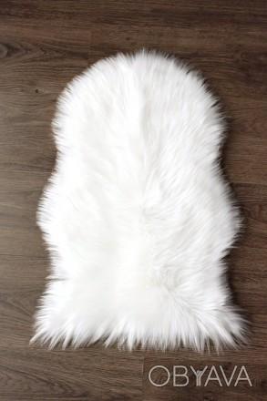 Пушистый коврик 60х40, ковер шкура, меховой коврик. Белый коврик мех