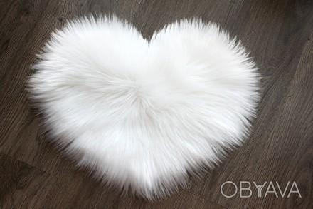 Пушистый коврик в виде сердца 40х30 см,мини-коврик, меховой белый коврик сердце